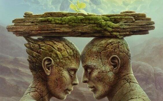Figuras de pedra apaixonadas