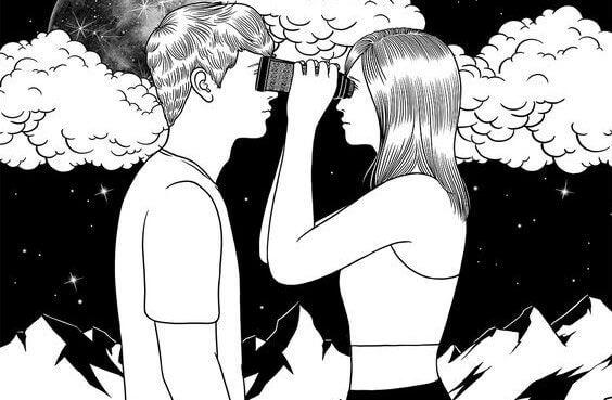 Casal se olhando nos olhos com binóculo