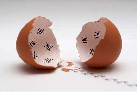 Casca de ovo quebrada