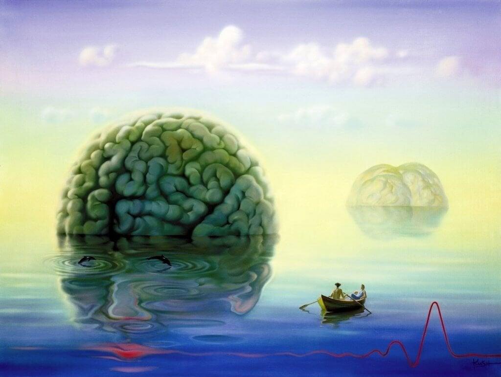 Pessoas navegando por mar de cérebros