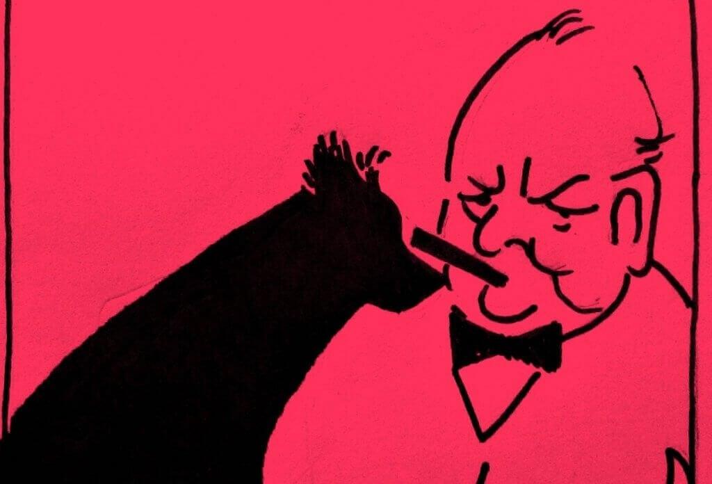 Churchill e seu cachorro preto