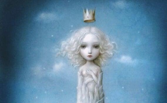 Menina com coroa flutuando sobre sua cabeça