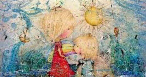 Desenho de mãe com sua filha pequena