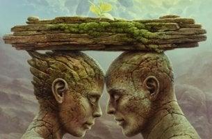 Humanos de pedra representando a confiança nas relações