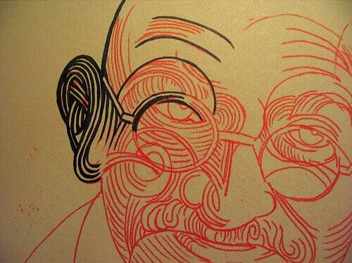 Desenho do rosto de Gandhi
