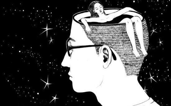 Mulher em piscina em cérebro de homem