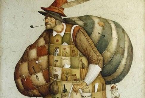 Homem feito de colcha de retalhos