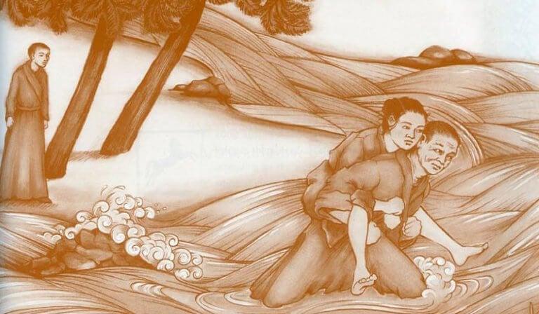 Monge carregando mulher nas costas