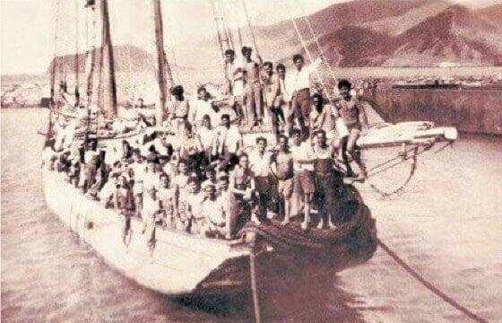 Imigrantes espanhóis chegando na costa da Venezuela em 1949
