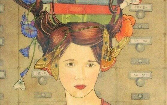 Mulher com borboletas e livros na cabeça