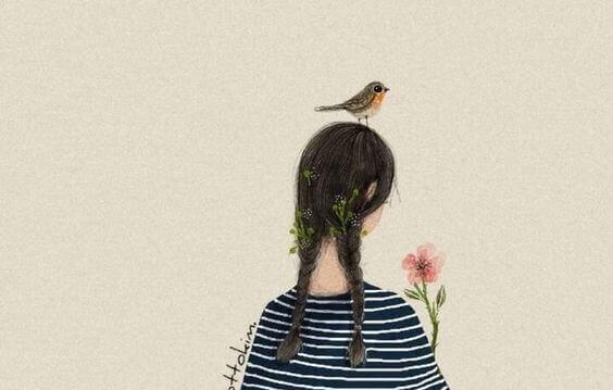 Menina com passarinho na cabeça e flor na mão