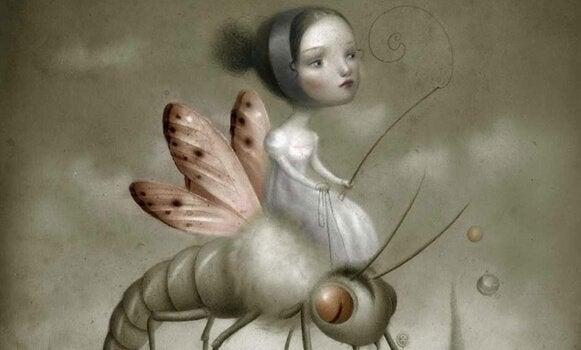 Mulher sentada em inseto
