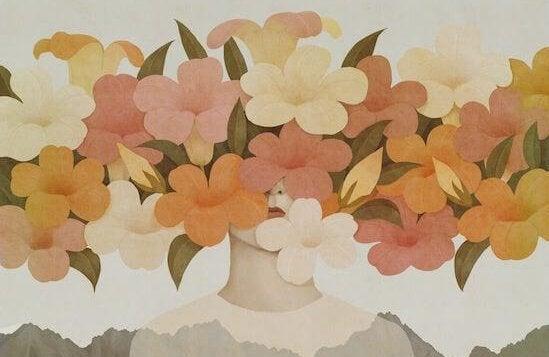 Mulher com flores escondendo o rosto