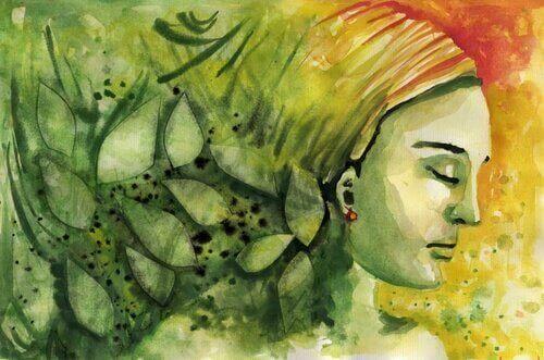 Pintura de mulher com os olhos fechados