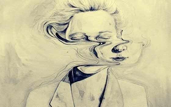 Mulher com rosto se desfazendo