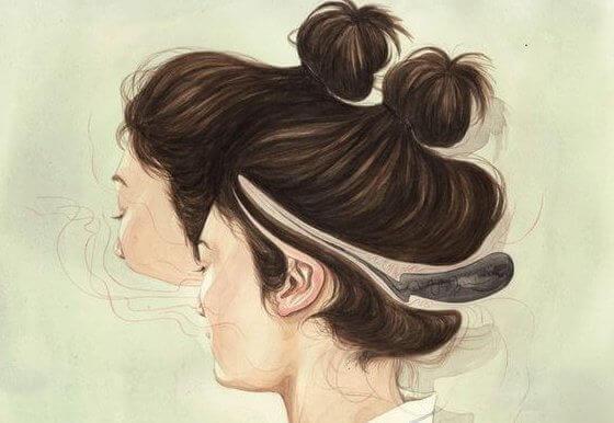 Menina com coque alto na cabeça