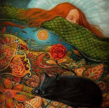 Menina dormindo com seu gato preto