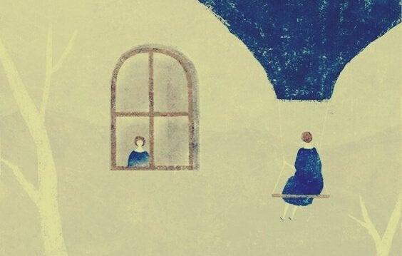Mulher sentada em balão observando outra na janela