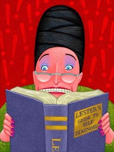 Mulher hipocondríaca lendo livro sobre doenças