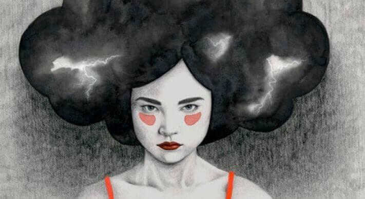 Mulher com tempestade na cabeça obscurecendo o raciocínio emocional