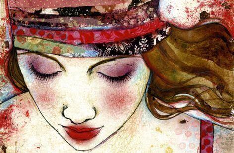 Mulher com o rosto maquiado