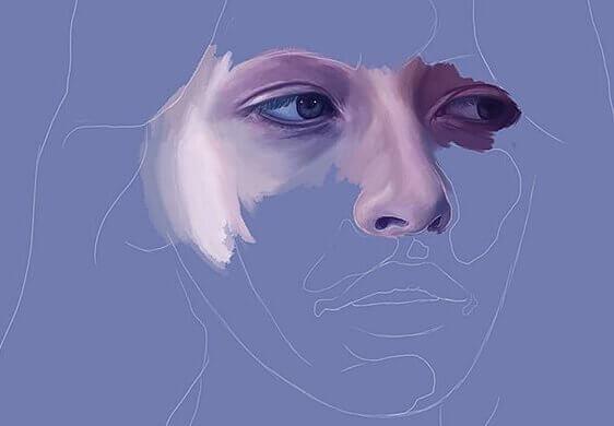 Rosto feminino com olhos e nariz pintados