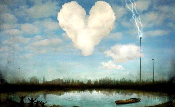 Nuvem em forma de coração sobre um lago