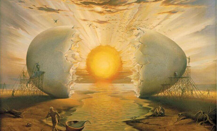 Nascer do sol ilustrado com ovo
