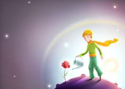 Pequeno Príncipe regando uma flor