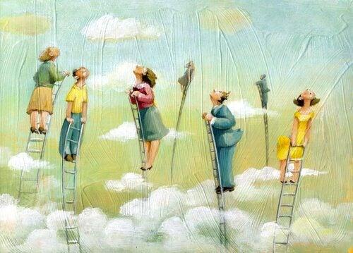 Pessoas em escadas acima das nuvens
