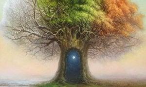 Árvore com porta misteriosa no tronco