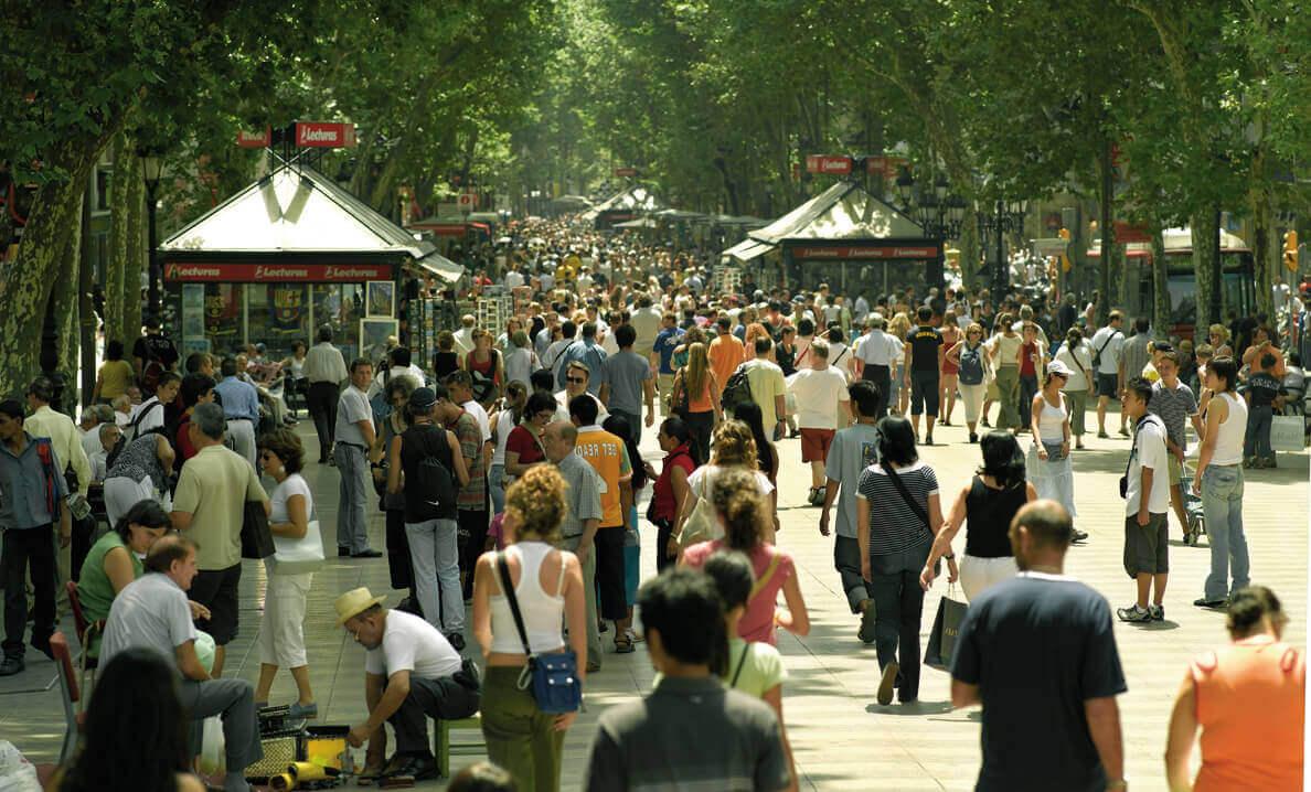 As ramblas em Barcelona
