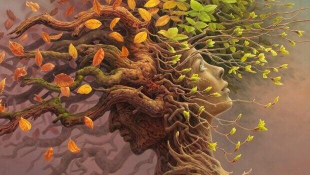 Árvores com rostos humanos