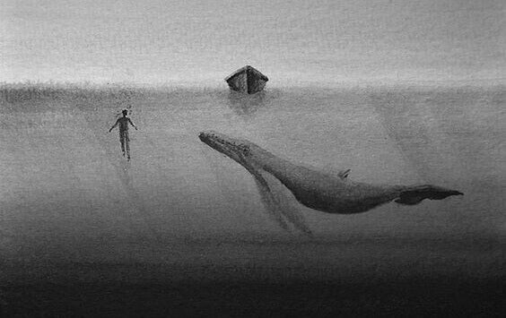 Pessoa com baleia