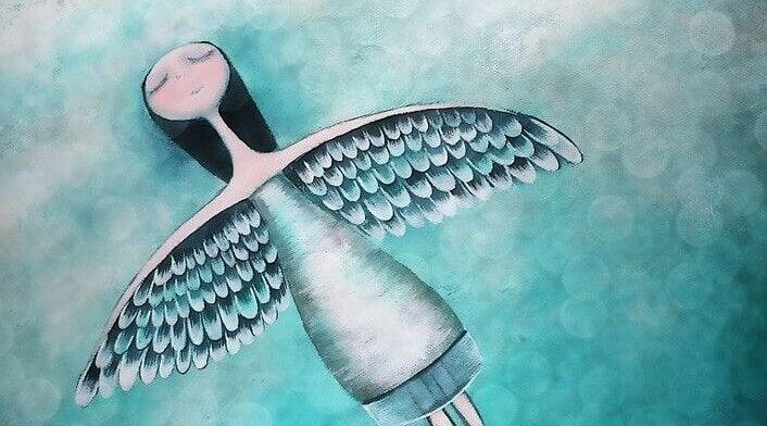 Menina abrindo suas asas