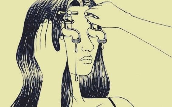 Mulher com torneiras no lugar dos olhos