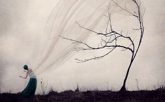 Mulher com véu transparente preso em árvore