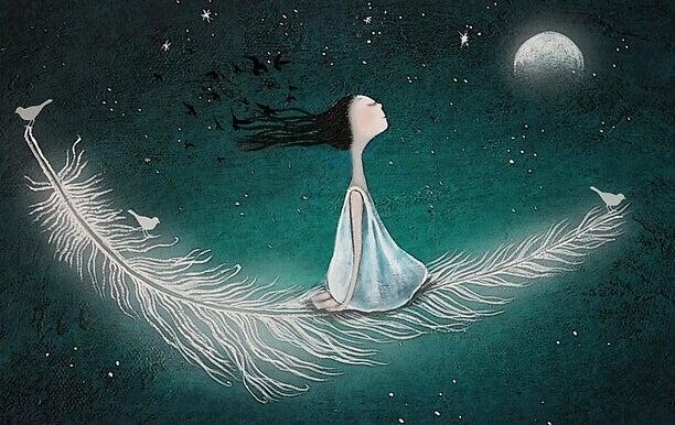 Mulher flutuando sentada em pluma