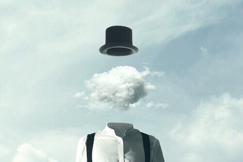 Homem sem rosto com nuvem na cabeça
