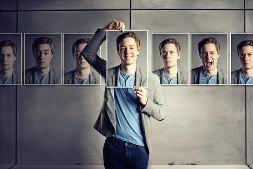 Homem expressando diferentes emoções
