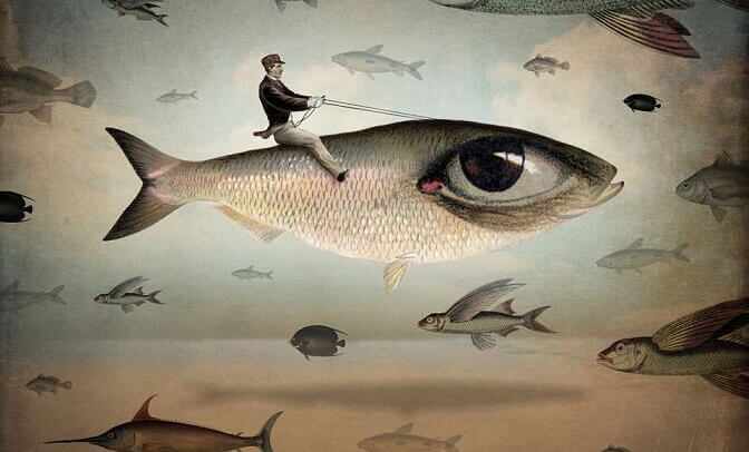 Homem voando em peixe gigante
