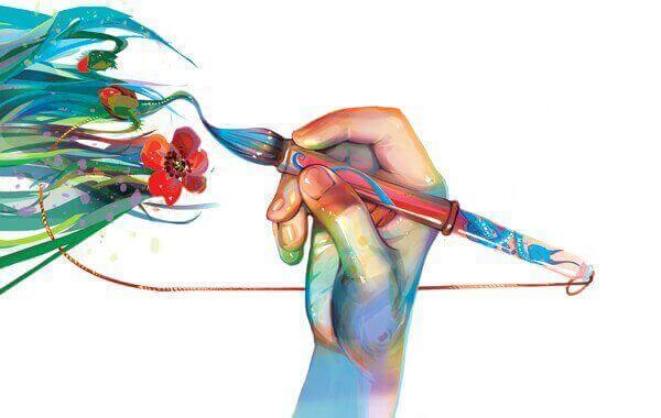 Mão pintando com pincel