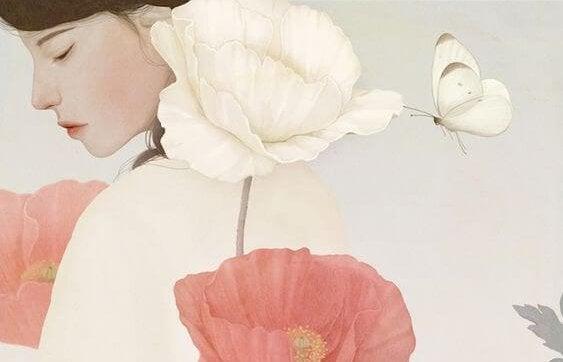 Mulher rodeada por flores e borboleta
