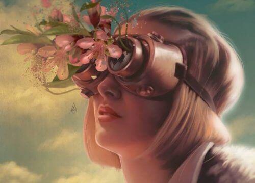 Mulher com óculos de flores