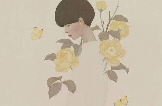 Mulher com rosas amarelas