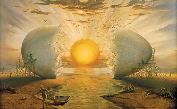 Gema de ovo imitando o por do sol