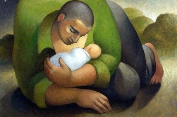 Pintura mostrando pai e filho
