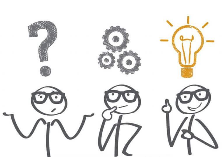 Bonecos pensando em novas ideias e soluções