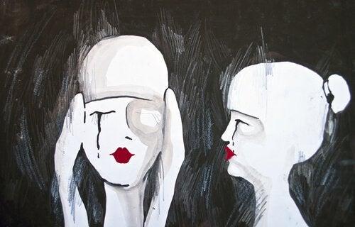 Mulheres maquiadas chorando