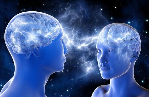 Pessoas com cérebros conectados